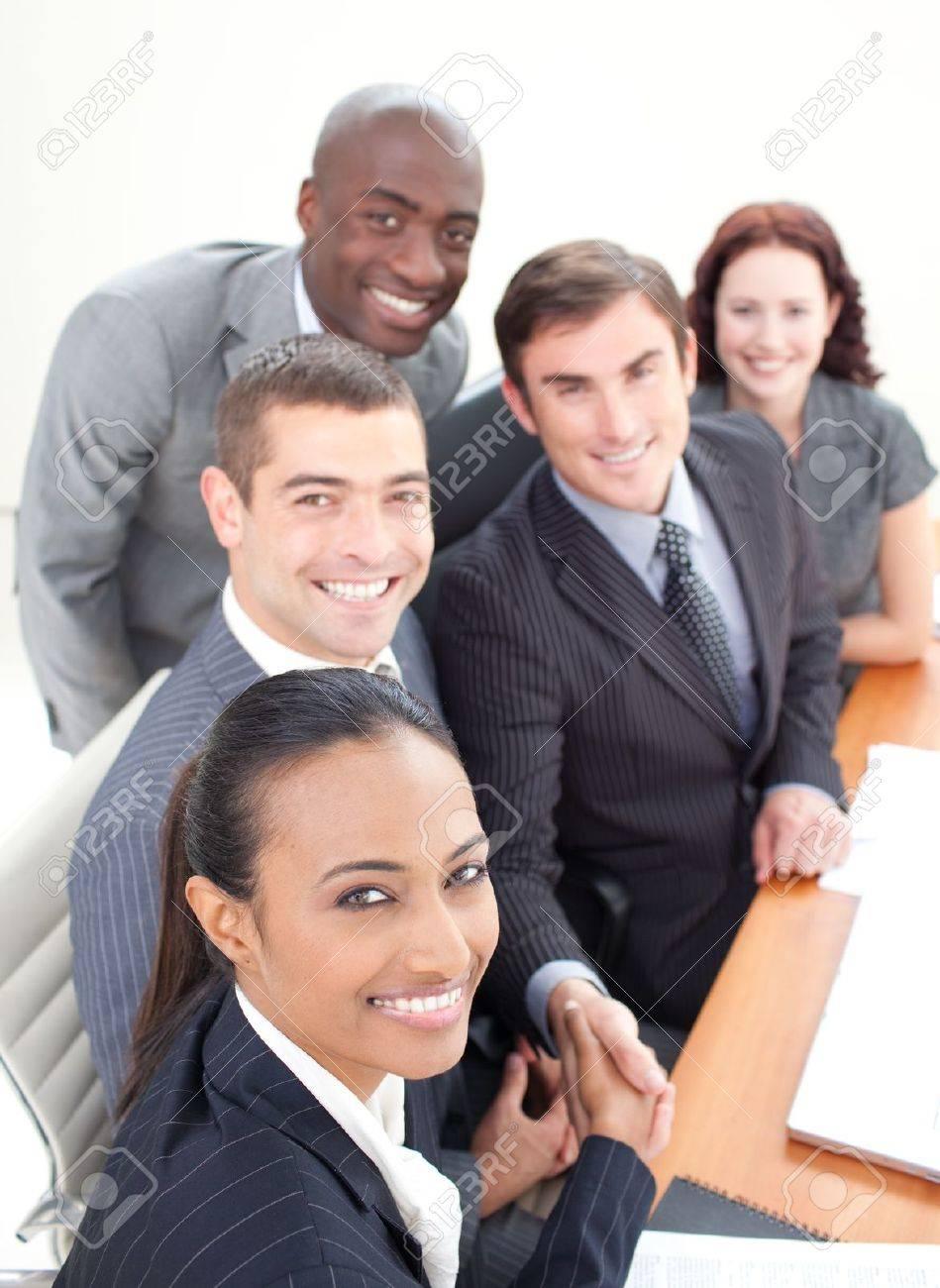 United multi-ethnic business team shaking hand Stock Photo - 10246808