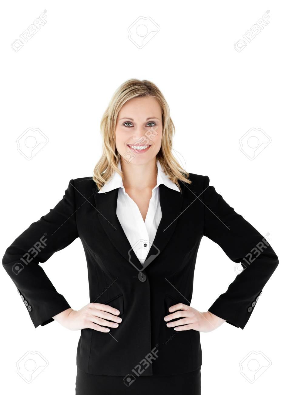 Businesswoman against white background Stock Photo - 10234129
