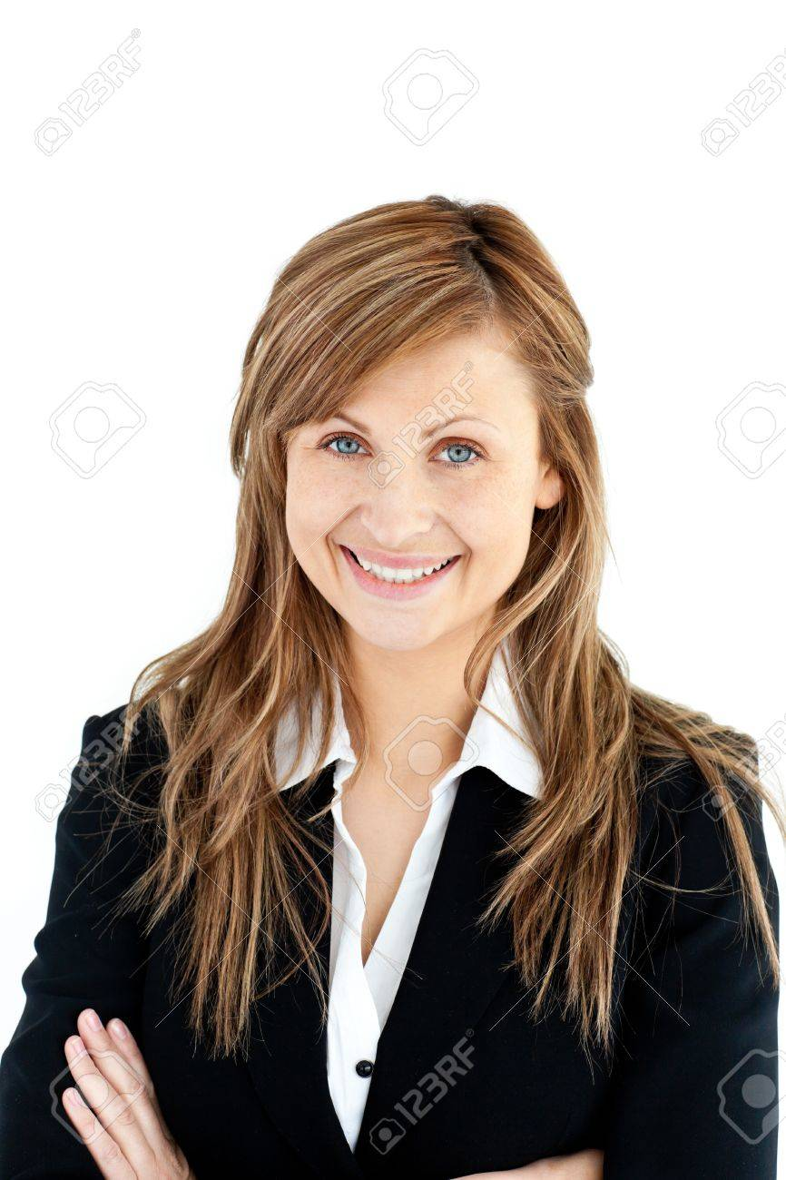 Assertive businesswoman with folded arms smiling at the camera Stock Photo - 10248723