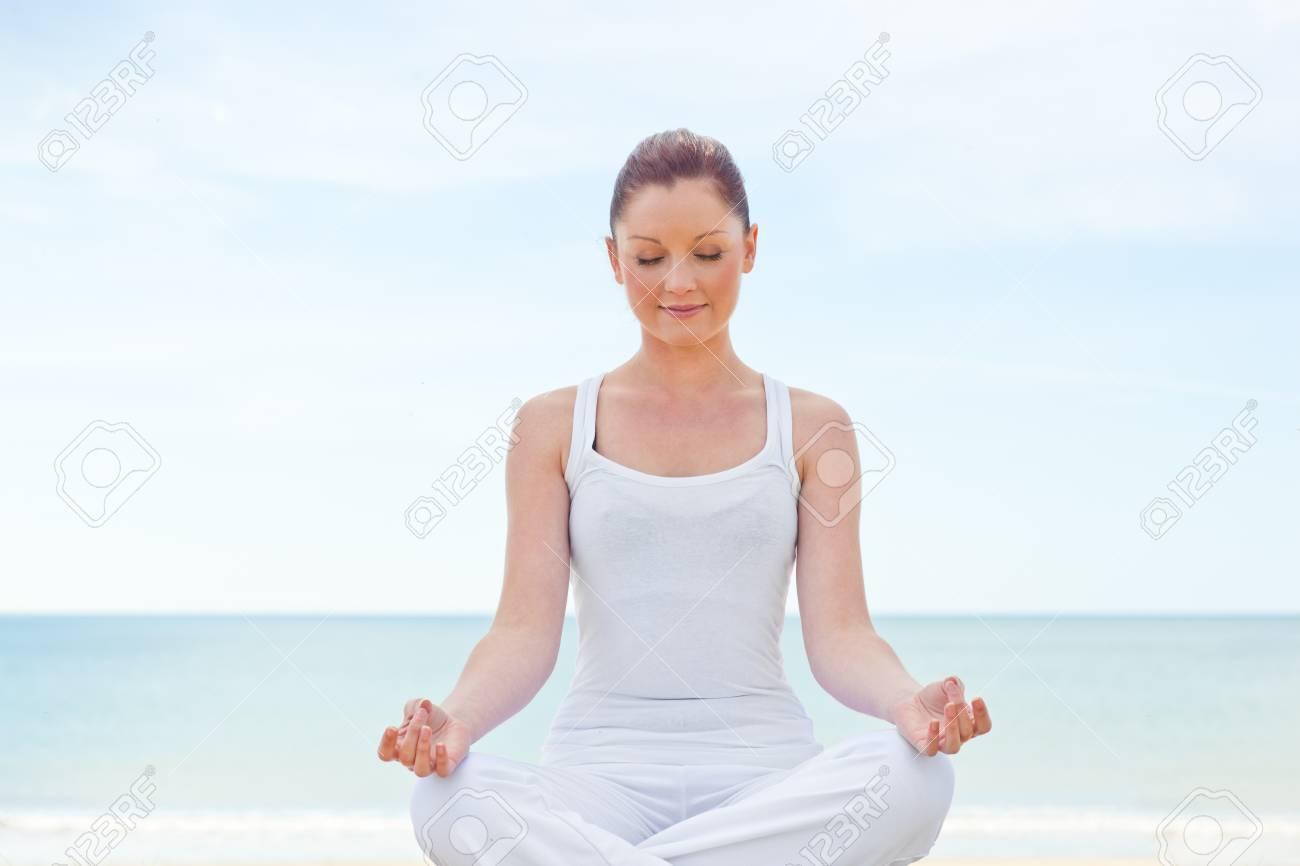 Caucasian healthy woman doing yoga Stock Photo - 10243566