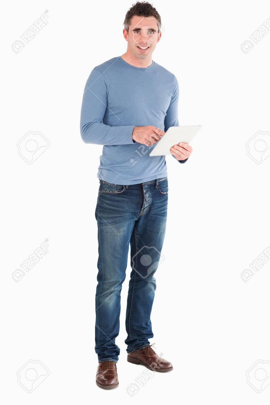 Man with a tablet computer against a white background Stock Photo - 11228208