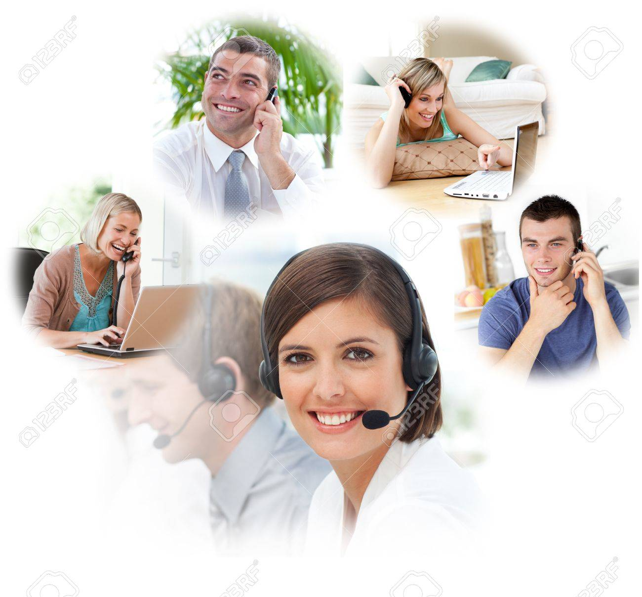 Customer service agents with headset on in a call center Stock Photo - 11189651