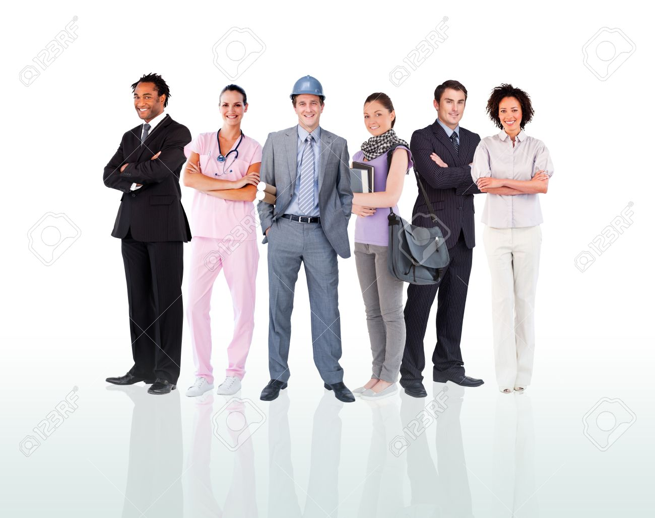 Smiling people posing against a white background Stock Photo - 11184362