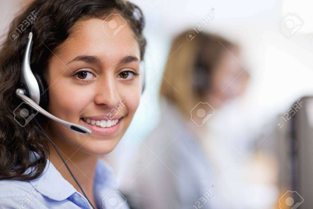 close up of a customer assistant wearing a headset stock photo close up of a customer assistant wearing a headset stock photo 11183843