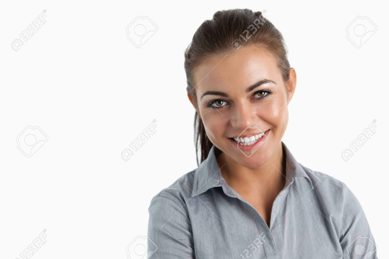 Close up of smiling businesswoman against a white background Stock Photo - 11624981