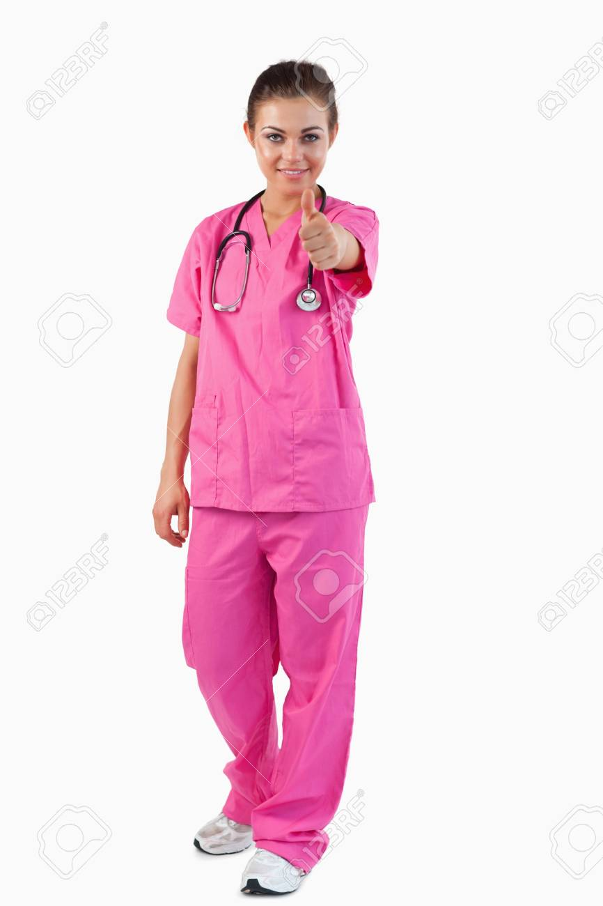 Portrait of a female doctor with thumb up against a white background Stock Photo - 11624146