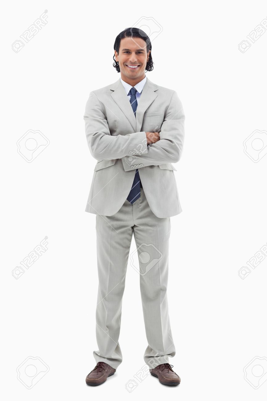 Portrait of a smiling office worker posing with the arms crossed against a white background Stock Photo - 11687437