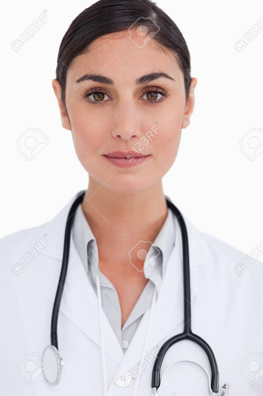Close up of female doctor against a white background Stock Photo - 13653498