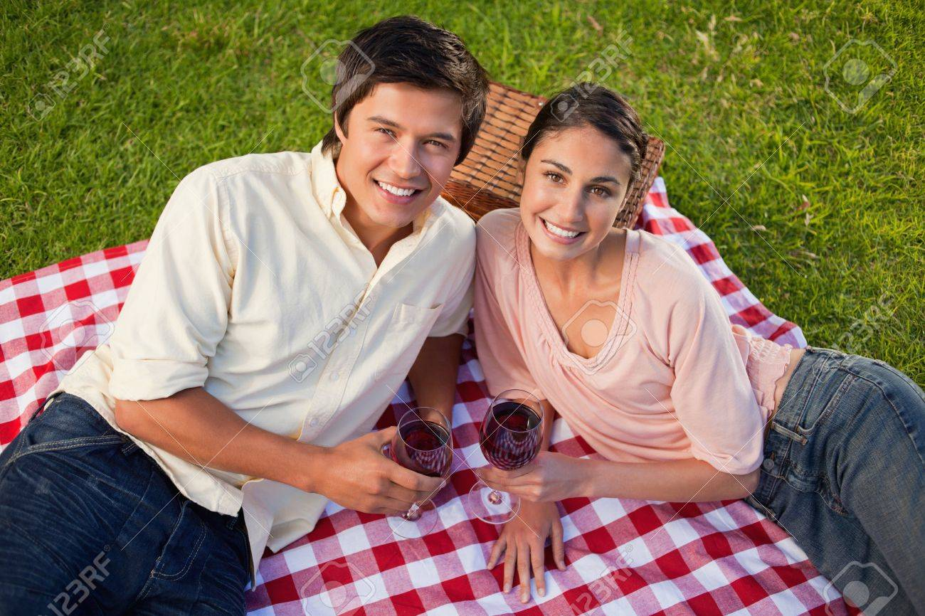Man and a woman looking towards the sky and holding glasses of red wine while lying on a red and white picnic blanket Stock Photo - 13667025