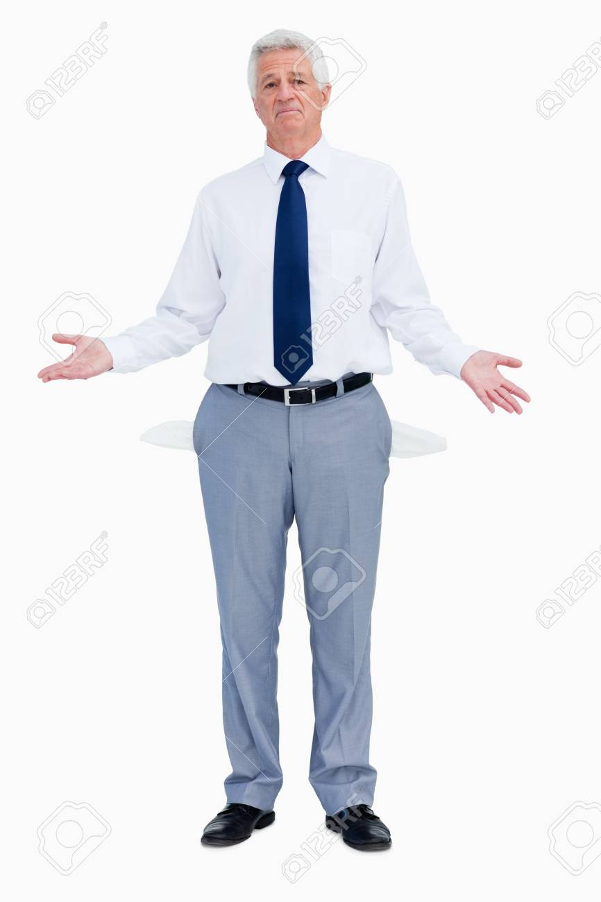 Portrait of a businessman with empty hands against white babckground Stock Photo - 13674642
