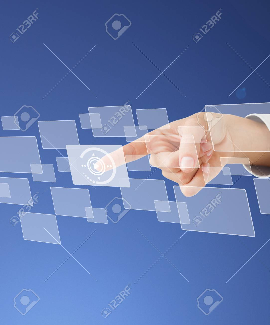 Finger pointing at play button on square from digital menu Stock Photo - 15561053