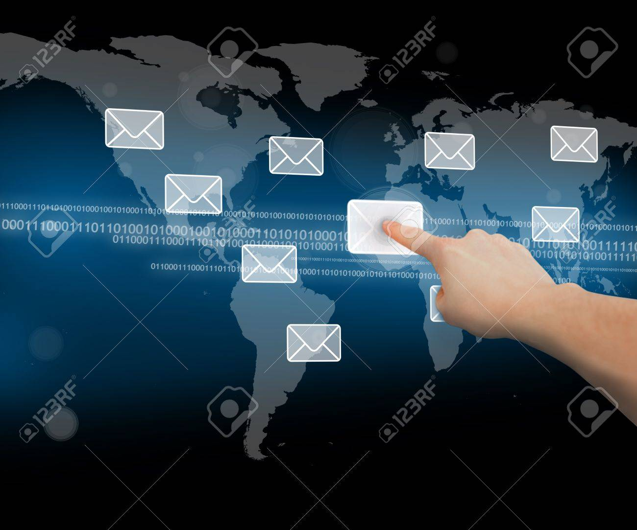 Finger pushing mail symbol on touchscreen world map interface finger pushing mail symbol on touchscreen world map interface on black background stock photo 18683987 gumiabroncs Gallery