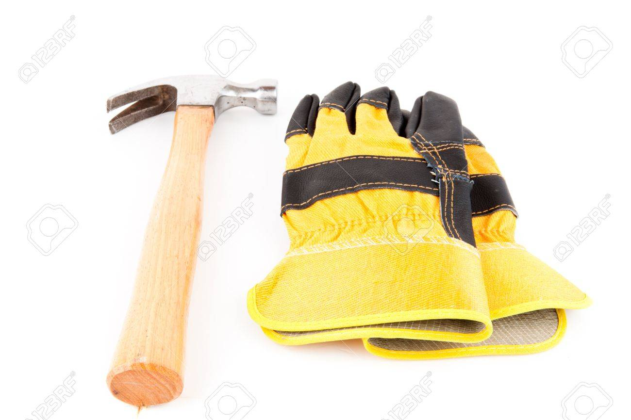 Black hammer gloves - Pair Of Black And Yellow Builder S Gloves And Hammer Stock Photo 16068289
