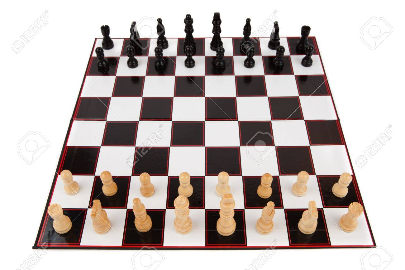 Chessboard fully set up and ready to play Stock Photo - 16067608  sc 1 st  123RF.com : chess table set up - pezcame.com