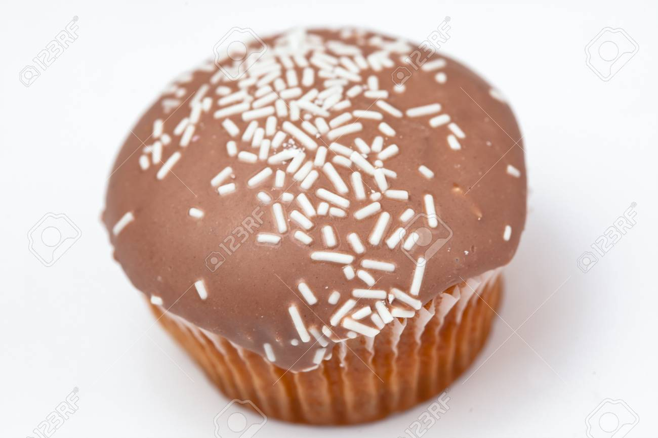 Brown cupcake against a white background Stock Photo - 16202600