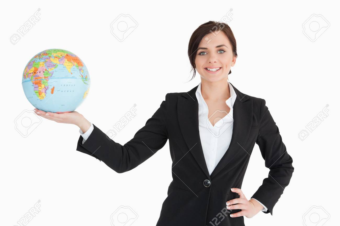 Smiling businesswoman holding an earth globe in her palm against white background Stock Photo - 16201360
