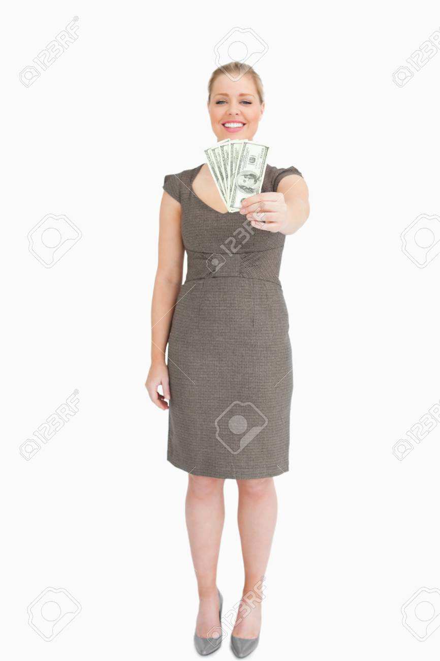 Woman showing banknotes against white background Stock Photo - 16198789