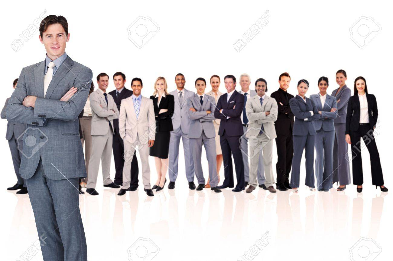 Businessman crossing his arms against a white background Stock Photo - 16202193