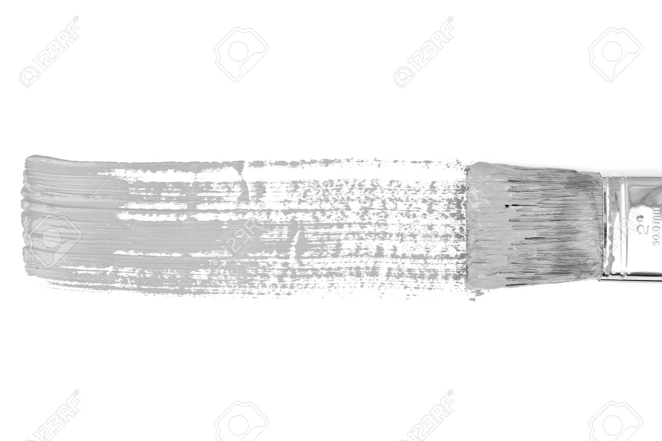 Grey horizontal line of painting against a white background Stock Photo - 16200128