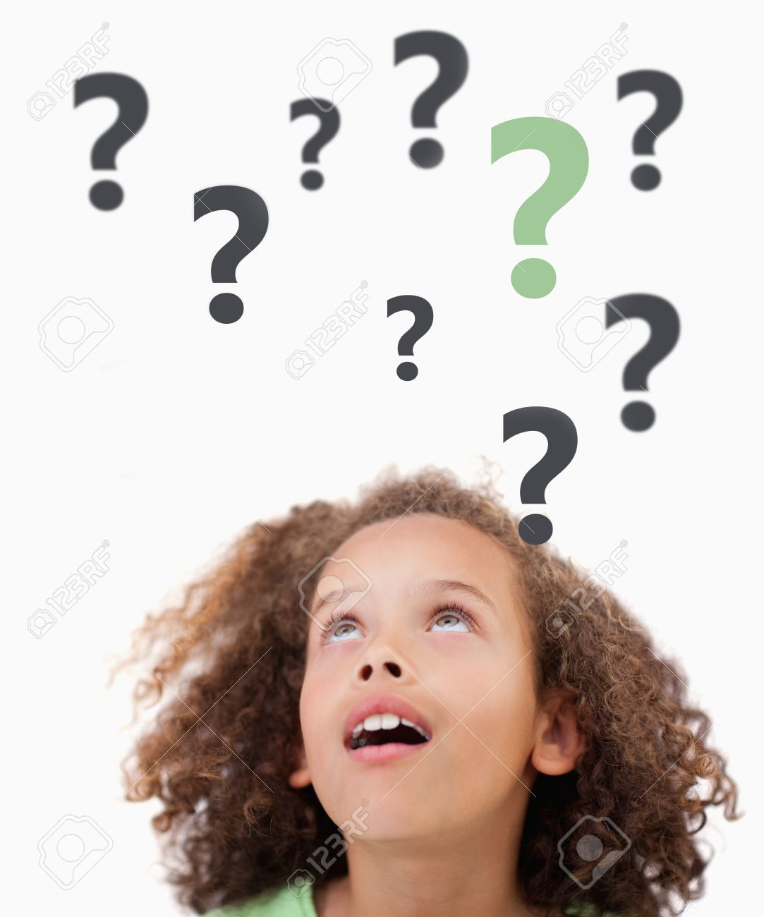 Thinking child with question marks above her on white background looking up Stock Photo - 18123556