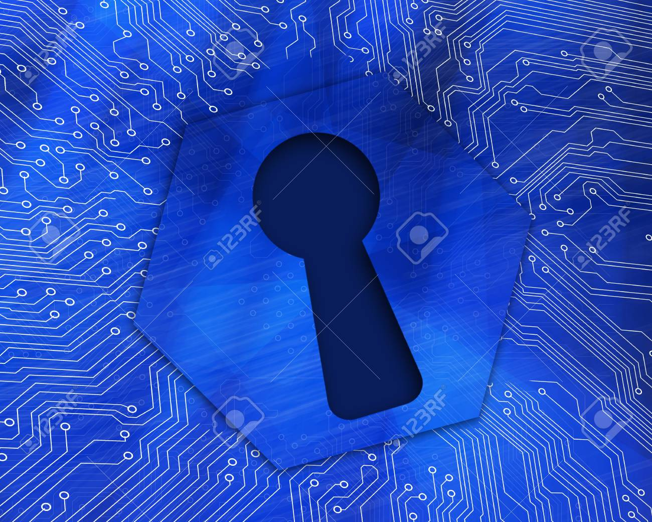Keyhole graphic on blue computing background Stock Photo - 18118665