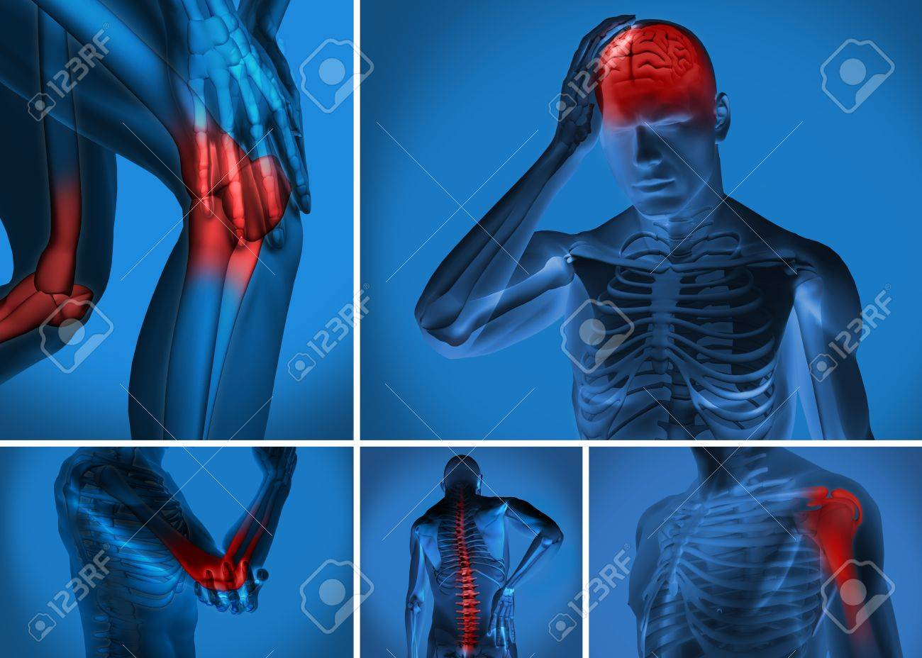 Various body pain highlighted on figure of man Stock Photo - 18118650