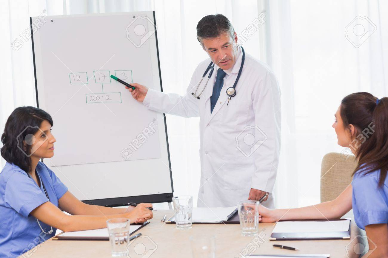 Doctor explaining something to nurse during meeting Stock Photo - 18120644