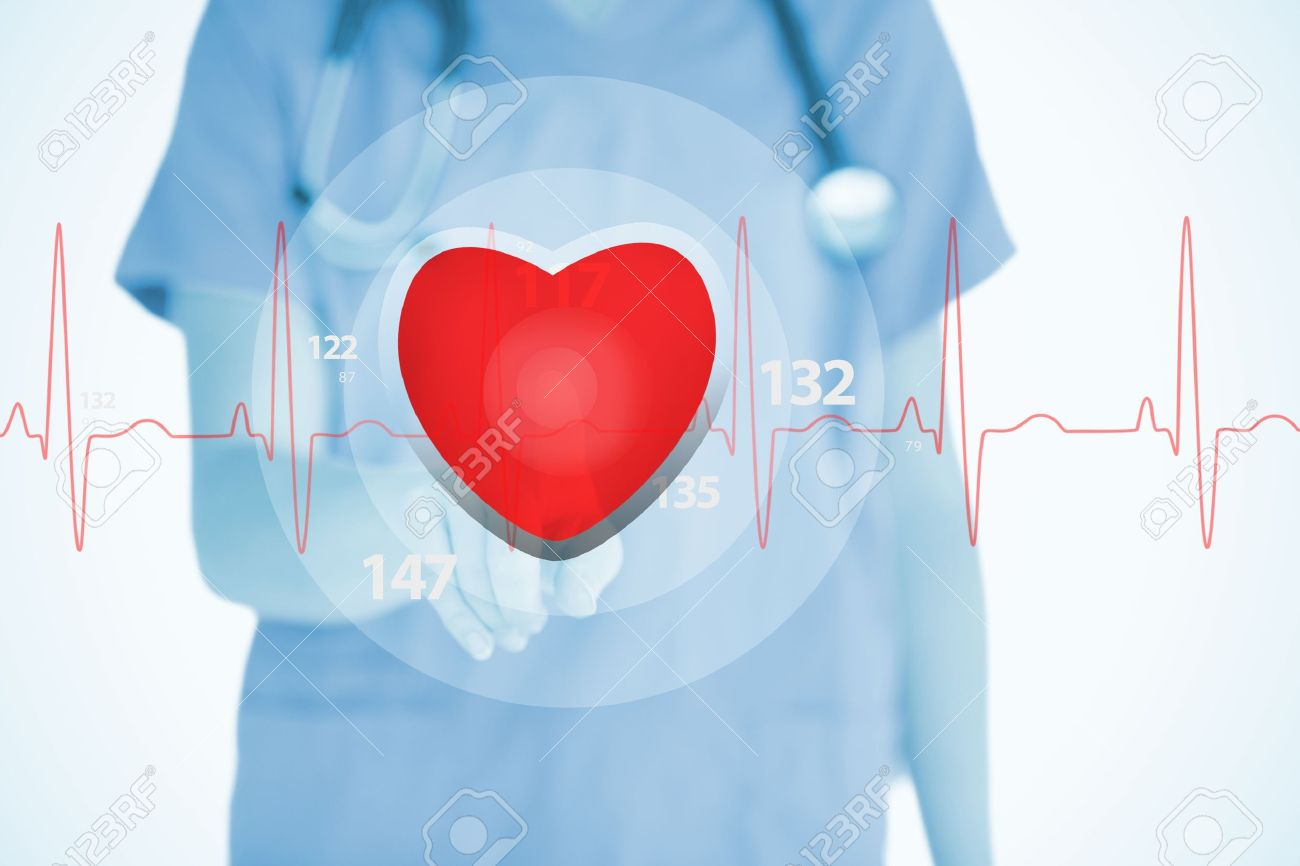 Nurse in scrubs touching red ECG line with heart graphic on white background Stock Photo - 18132143