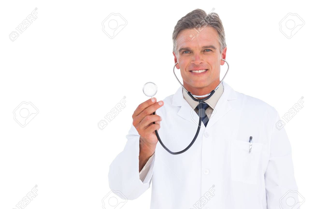 Smiling doctor with stethoscope looking at the camera Stock Photo - 20539216