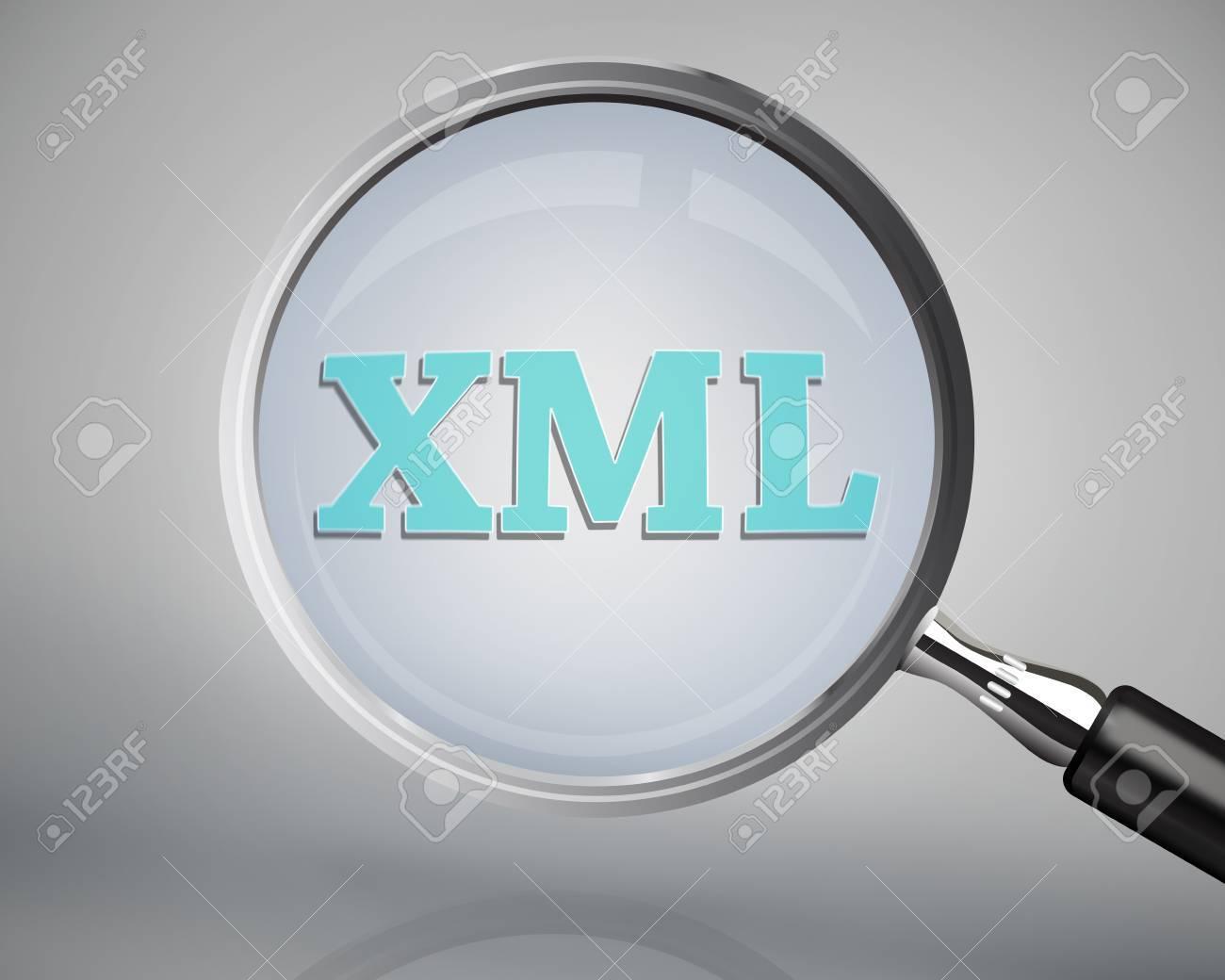 Background image xml - Magnifying Glass Showing Xml Word On Grey Background Stock Photo 26704203