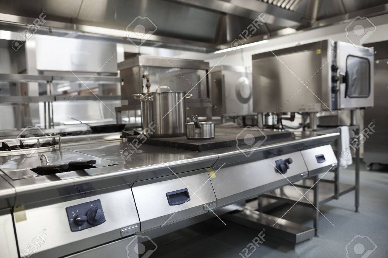 Picture Of Fully Equipped Professional Kitchen In Bright Light Banque  Du0027images   26794713