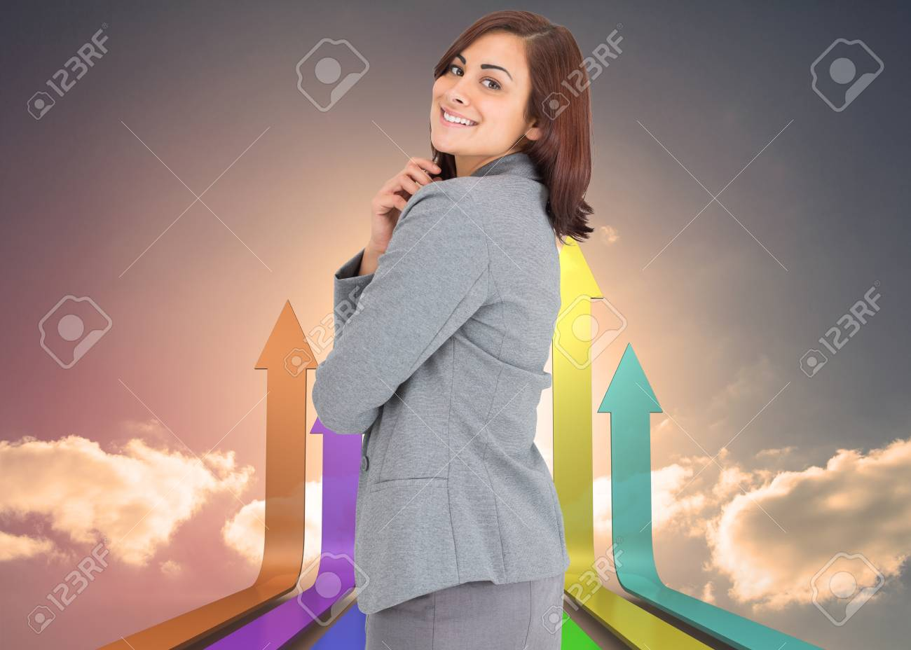 Smiling thoughtful businesswoman against digitally generated room Stock Photo - 26795432