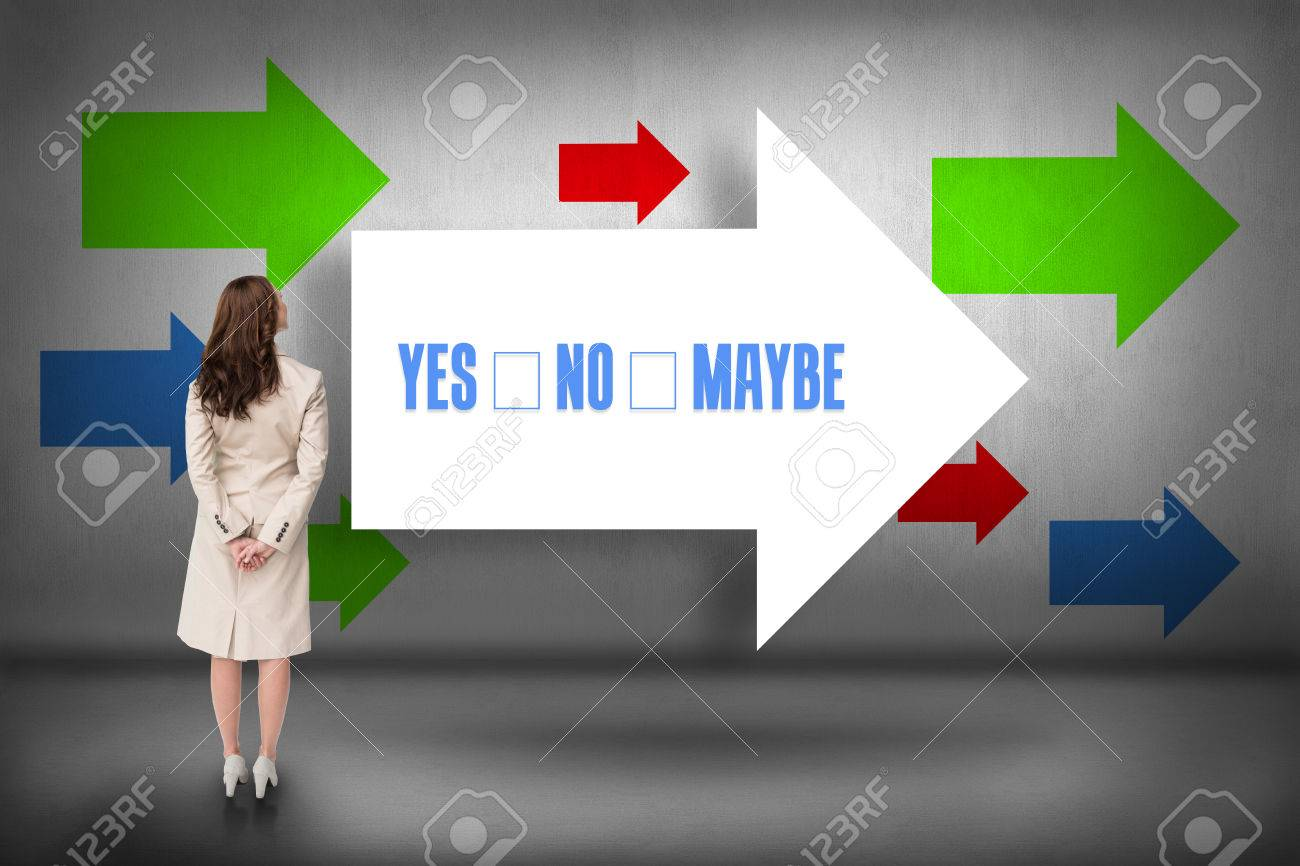The word yes no maybe and rear view of businesswoman against arrows pointing Stock Photo - 26801056