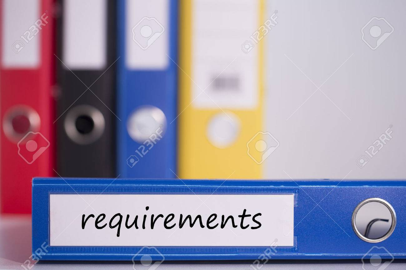 the word requirements on blue business binder stock photo picture