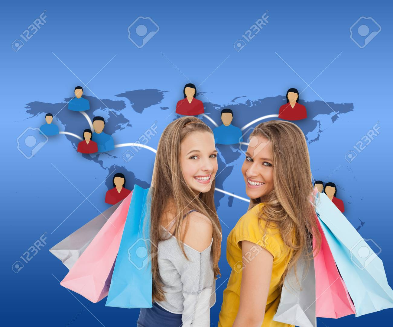 Composite image of two young women with shopping bags against white background Stock Photo - 26906738