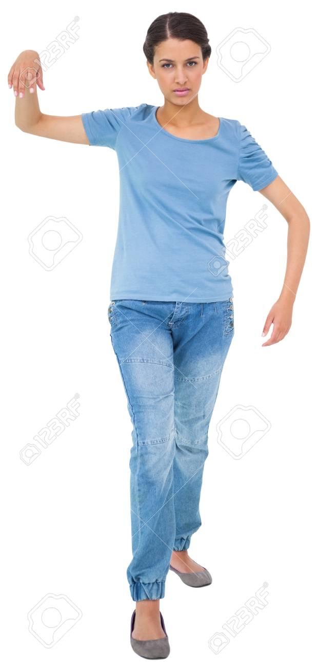 In Maglietta Sfondo Royalty Jeans Bianco E Impotente Bruna Su Foto 8PO0nwkX