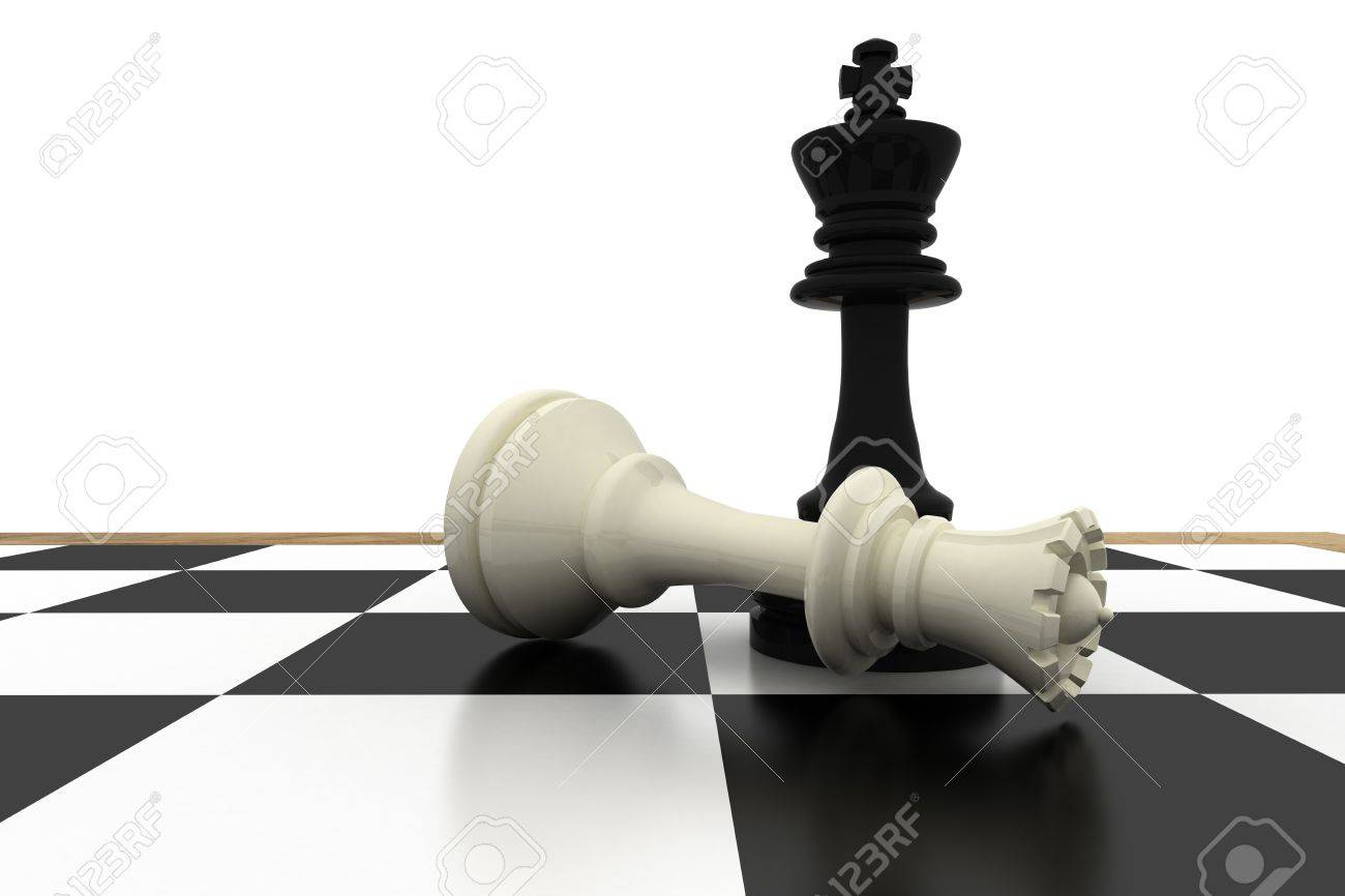 Black king standing over fallen white queen on white background stock photo 28971735