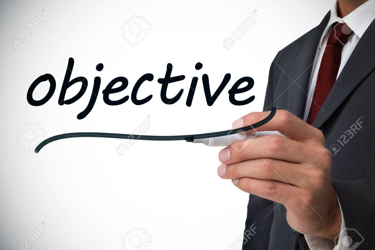 businessman writing the word objective against white background