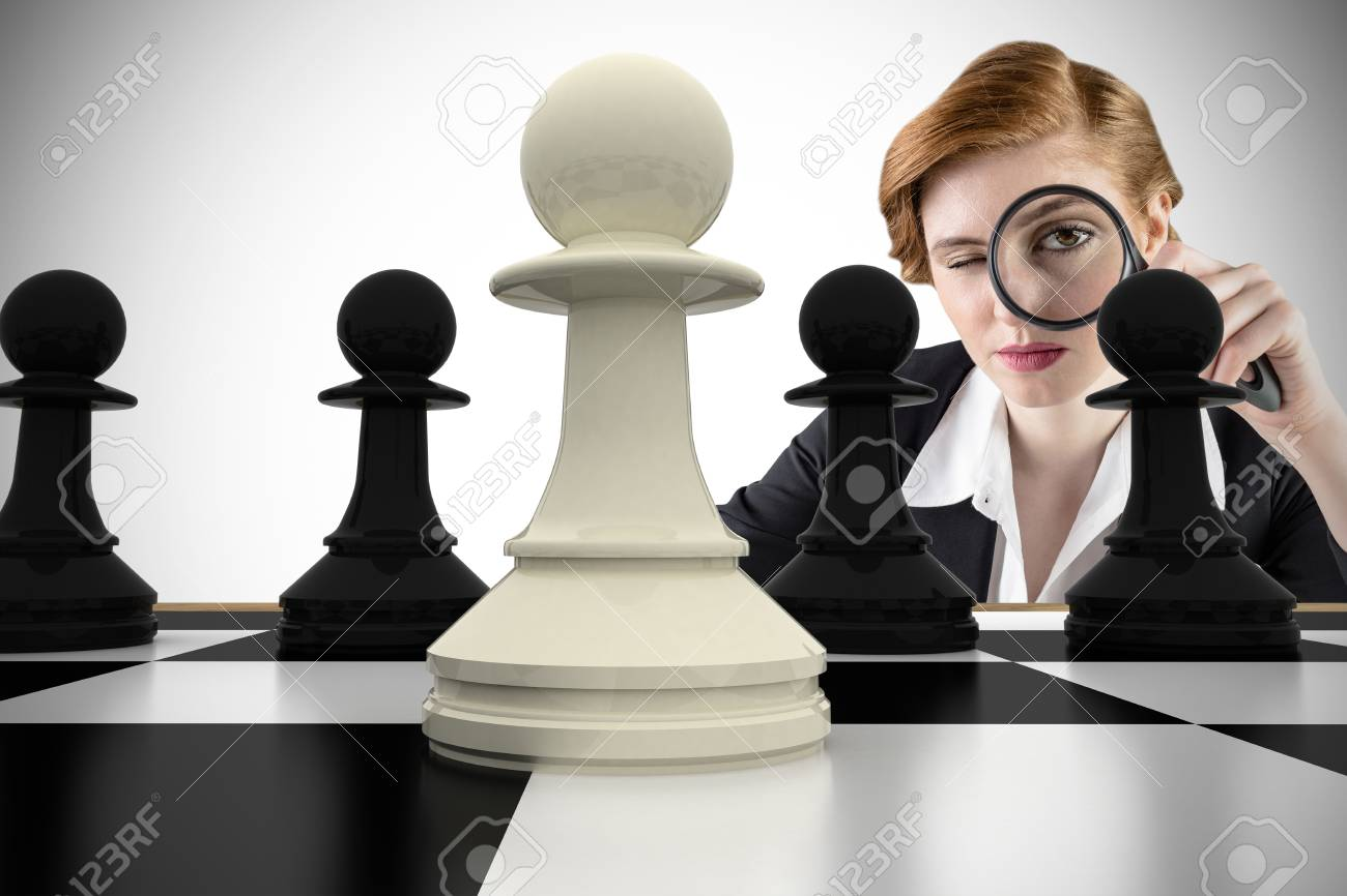 Composite image of focused businesswoman with magnifying glasses with chessboard Stock Photo - 29048638