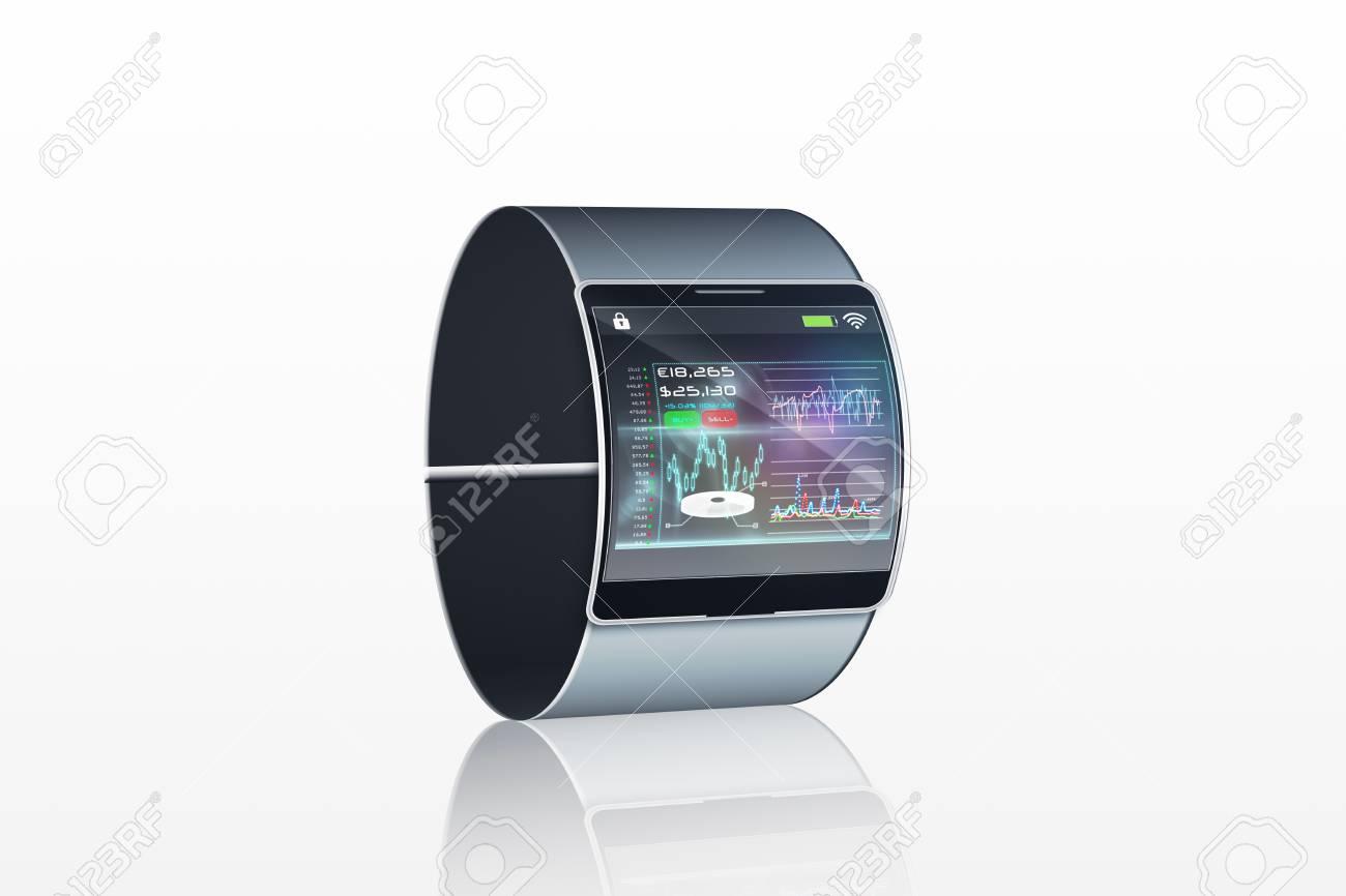 Pantalla Blanco Con Interfaz Reloj En El De Futurista Fondo 76Ybgyfv