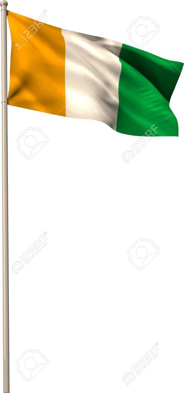 Immagini Stock Costa Davorio Bandiera Nazionale Sul Pennone Su