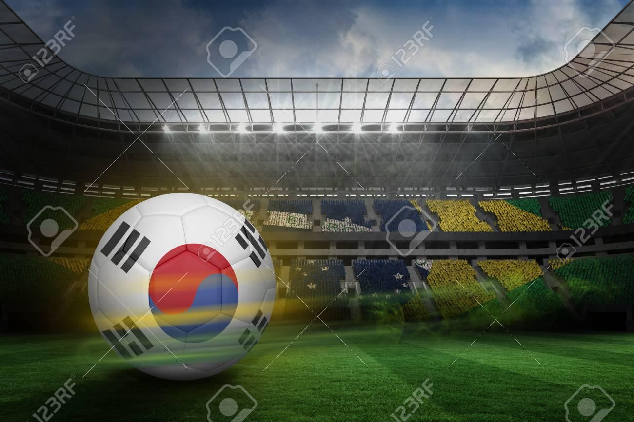 Fußball In Südkorea Farben Gegen Große Fußballstadion Mit ...