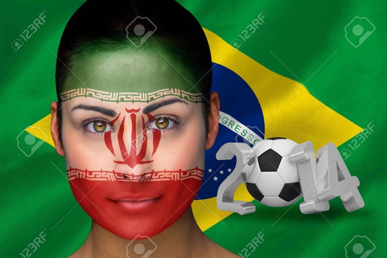 Composite Bild Von Iran Fussball Fan Im Gesicht Malen Gegen Wm 2014 Mit Brasilien Flaggen