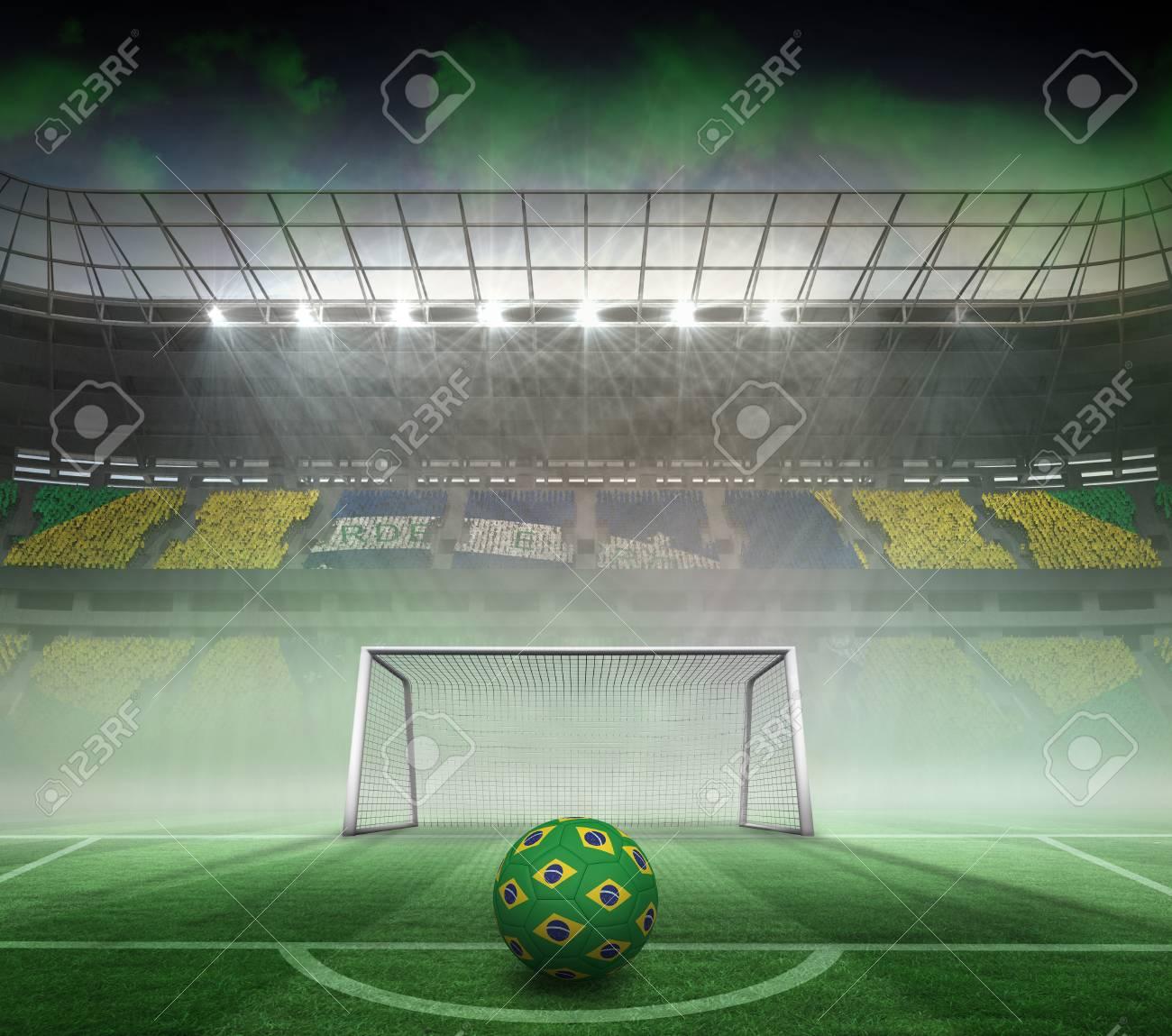 Fußball In Brasilianischen Farben Gegen Riesige Fußballstadion Für ...