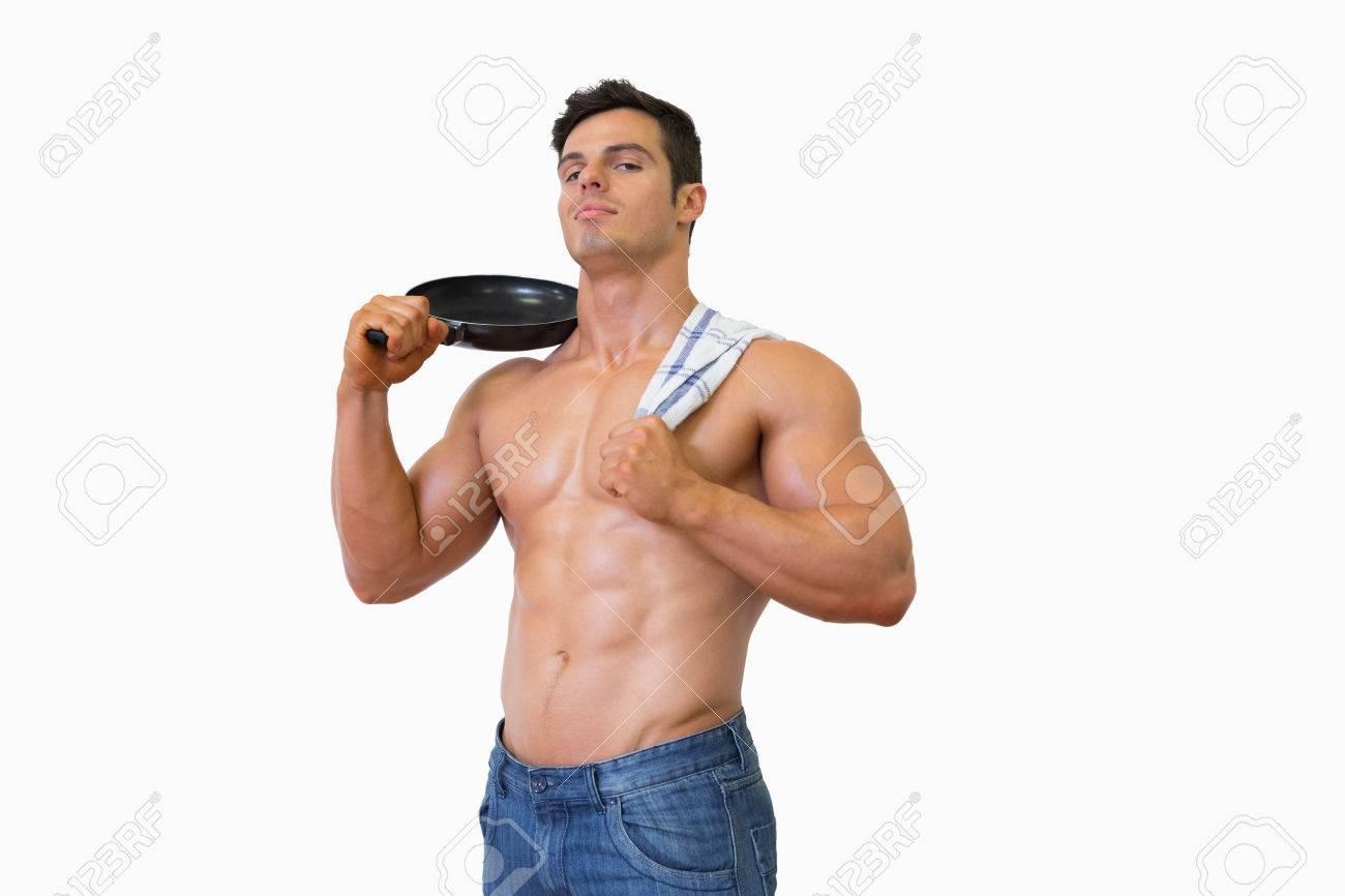 Porträt Eines Muskulösen Mann Mit Nacktem Oberkörper Hält Pfanne ...
