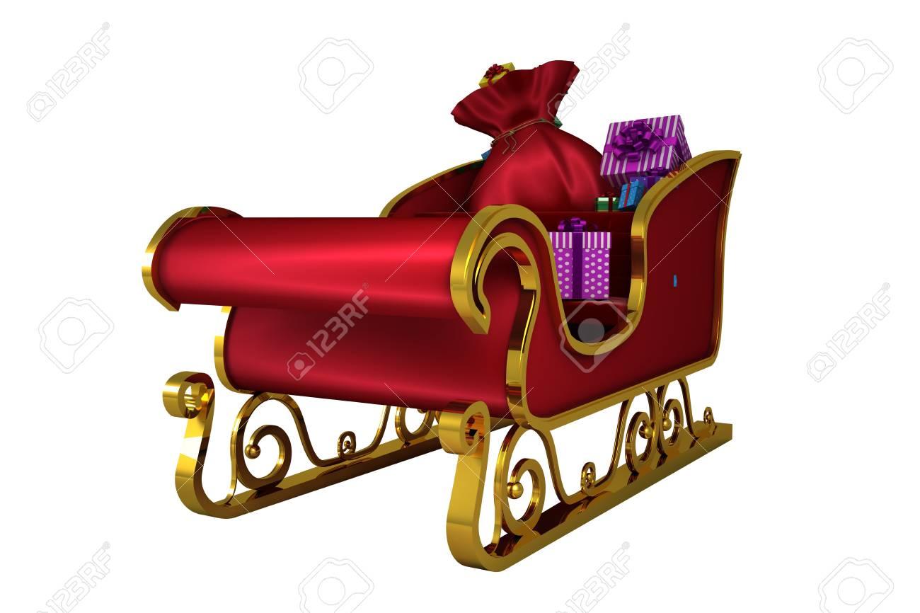 Rot Und Gold Weihnachtsschlitten Auf Weißem Hintergrund Lizenzfreie ...