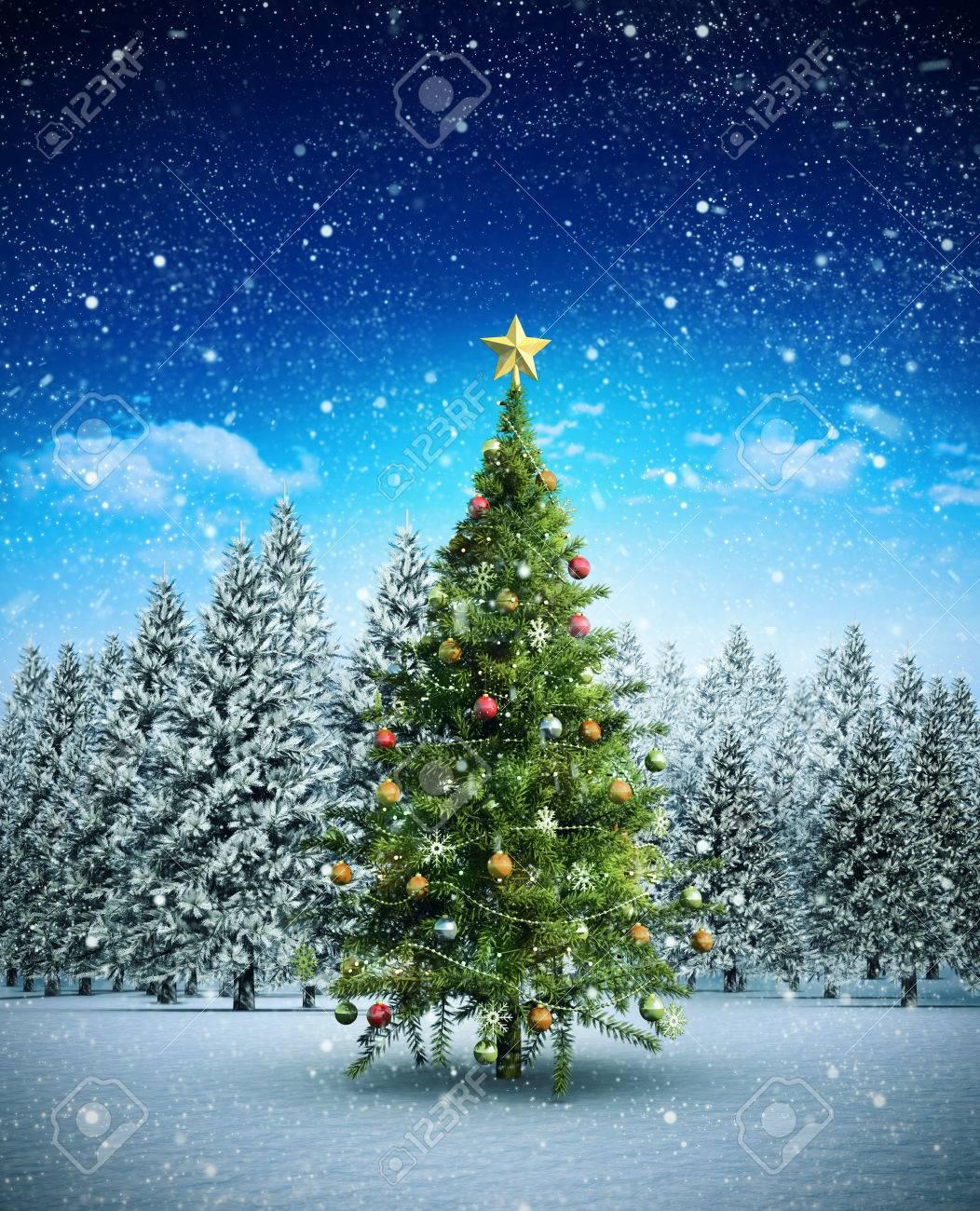 imagen compuesta de rbol de navidad contra el bosque del rbol de abeto en paisaje nevado