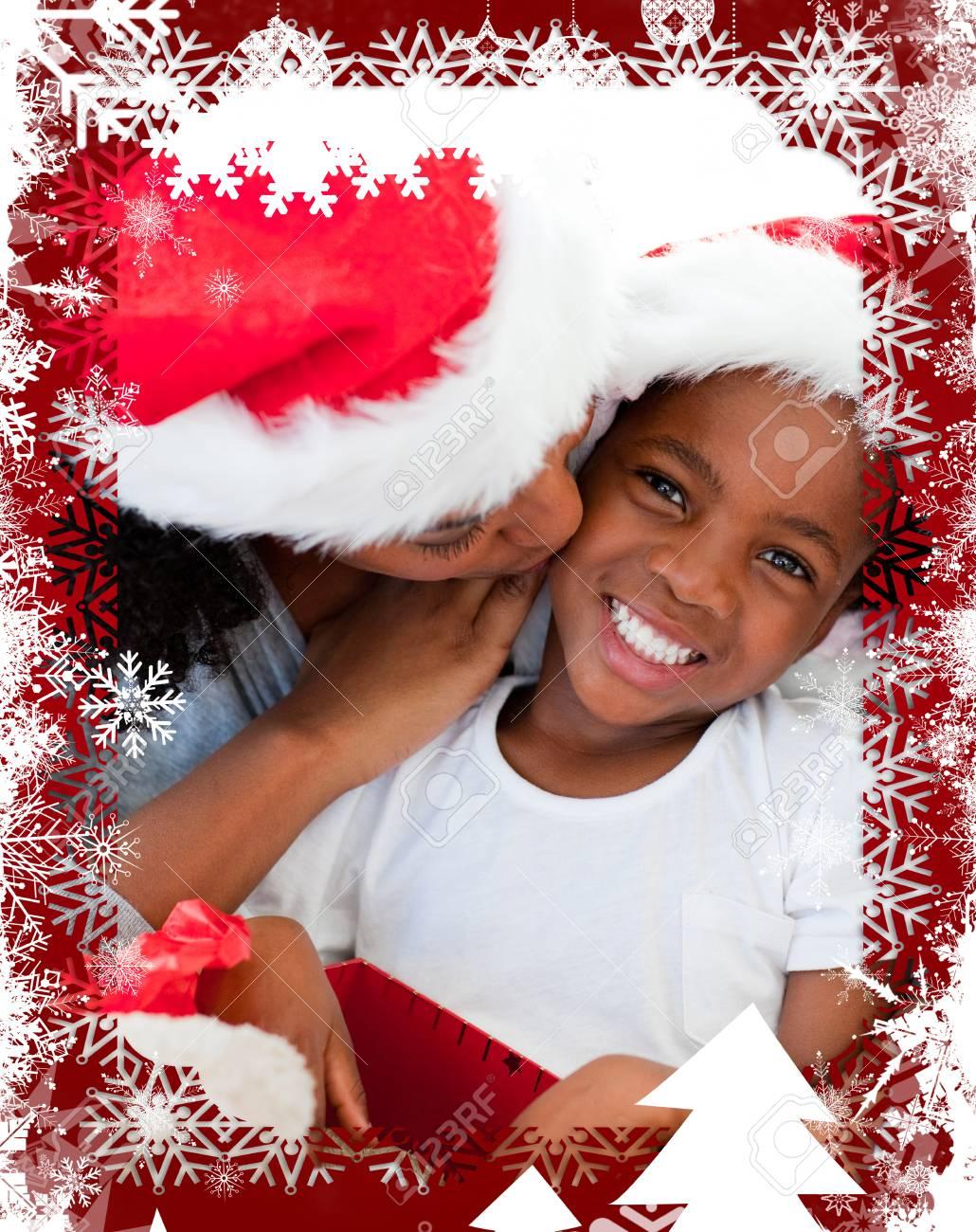 Mutter Küssen Ihre Tochter An Weihnachten Vor Weihnachten ...