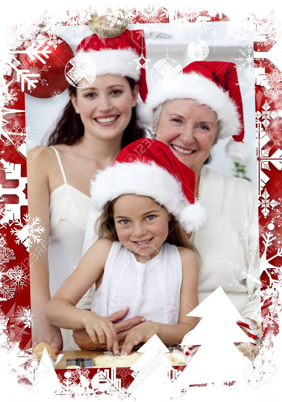 Madre Hija Y Abuela Hornear Tortas De Navidad Contra Navidad ...