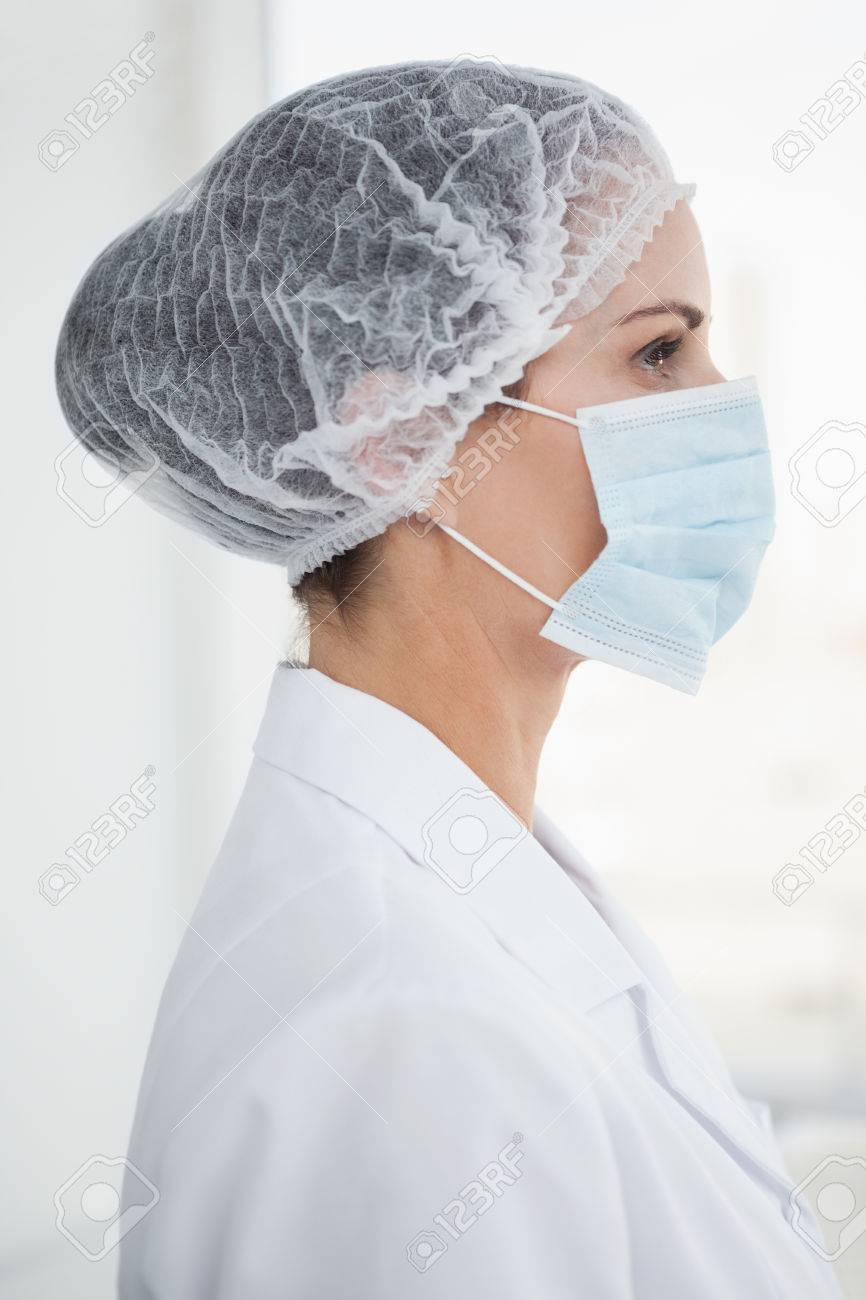 Wearing Hair A Mask Net Surgical Doctor And